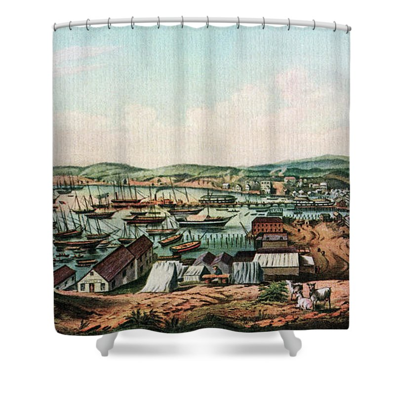 1800s 1850 View Of San Francisco & Port Shower Curtain for Sale by ...