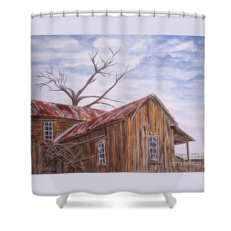 Old House Shower Curtain featuring the painting 1800's by Regan J Smith