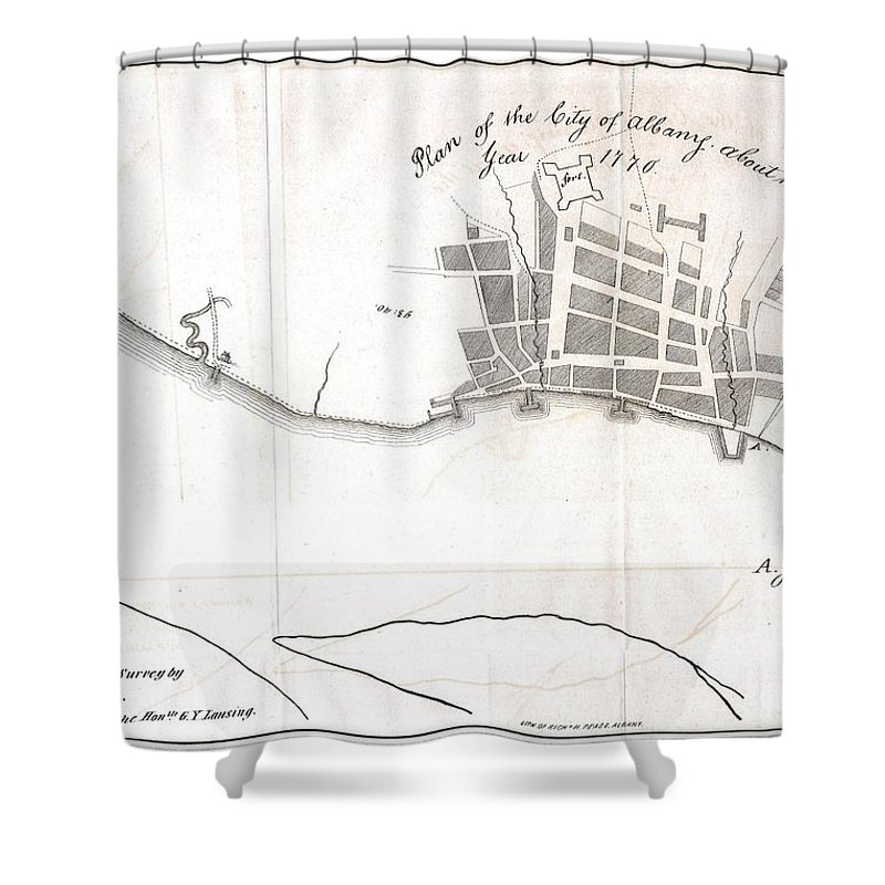 This Is A Fascinating 1770 Map Of The City Of Albany Shower Curtain featuring the photograph 1820 Yates Map Of Albany Circa 1770 by Paul Fearn