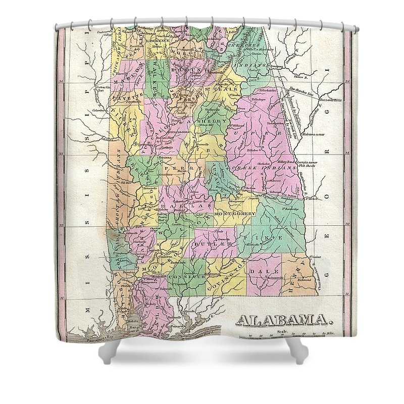 Beautiful Example Of Finley's Important 1827 Map Of Alabama. Depicts The State With Moderate Detail In Finley's Classic Minimalist Style. Shows River Ways Shower Curtain featuring the photograph 1827 Finley Map Of Alabama by Paul Fearn