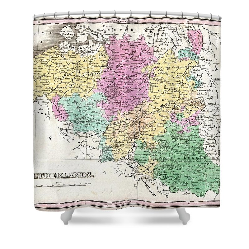 A Beautiful Example Of Finley's Important 1827 Map Of Belgium And Luxembourg. The Title Shower Curtain featuring the photograph 1827 Finley Map Of Belgium And Luxembourg by Paul Fearn
