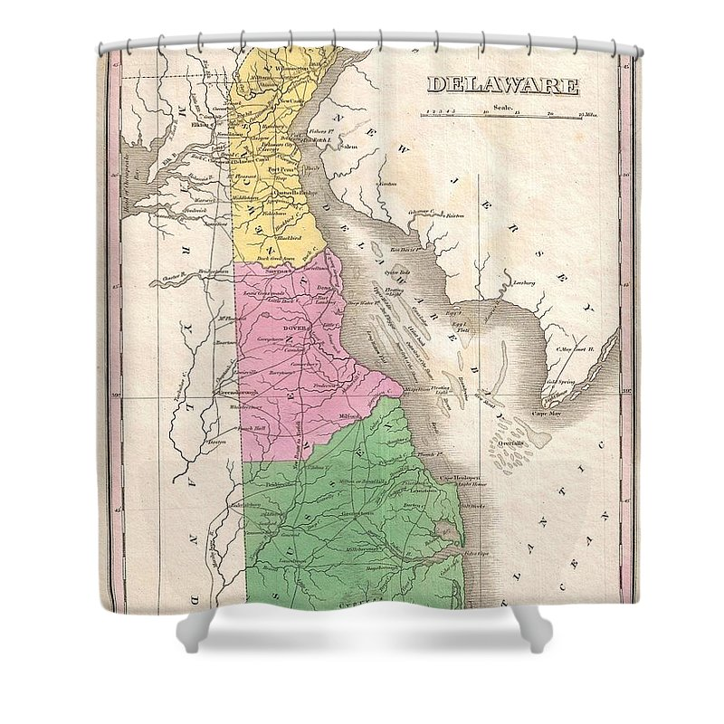 A Beautiful Example Of Finley's Important 1827 Map Of Delaware. This Rare Map Plate Configuration Depicts The State Individually Rather Than Bundled With Maryland - As Is More Common. Depicts The State With Moderate Detail In Finley's Classic Minimalist Style. Shows River Ways Shower Curtain featuring the photograph 1827 Finley Map Of Delaware by Paul Fearn