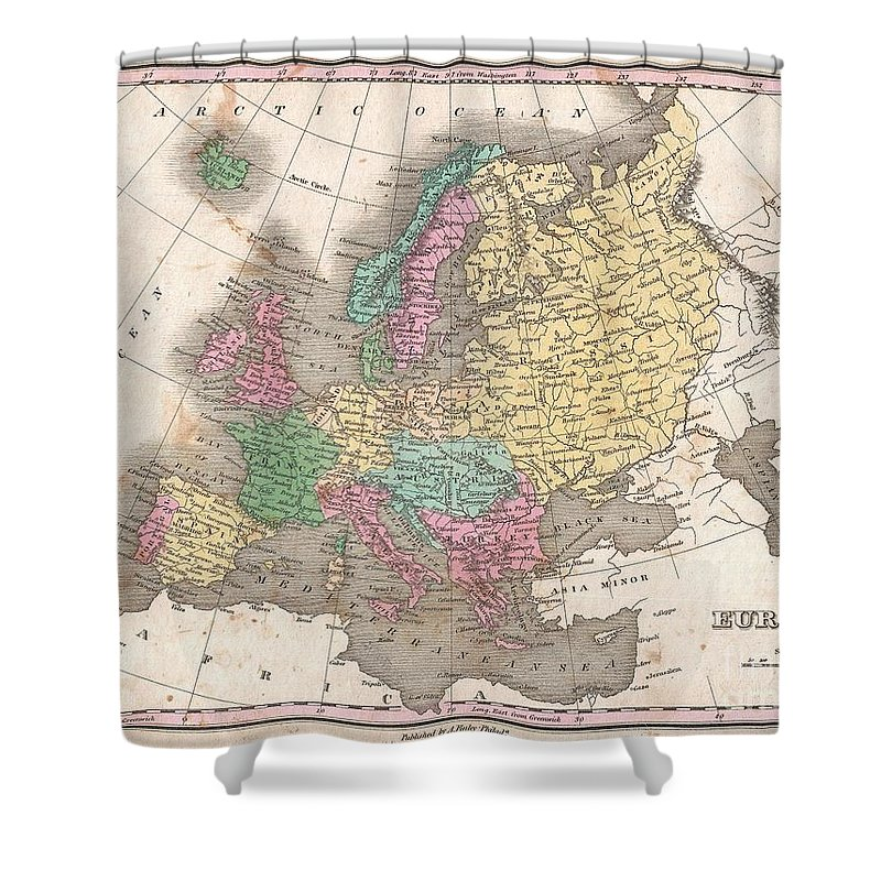 A Beautiful Example Of Finley's 1827 Map Of Europe. Covers The Continent In Its Entirety From The Atlantic To The Caspian Sea And From The Arctic Ocean To The Mediterranean. Notes The Legendary And Semi-mythical Whirlpool Known As The Maelstrom (mahl Strom) In Northwestern Norway. In Finley's Classic Minimalist Style Shower Curtain featuring the photograph 1827 Finley Map Of Europe by Paul Fearn