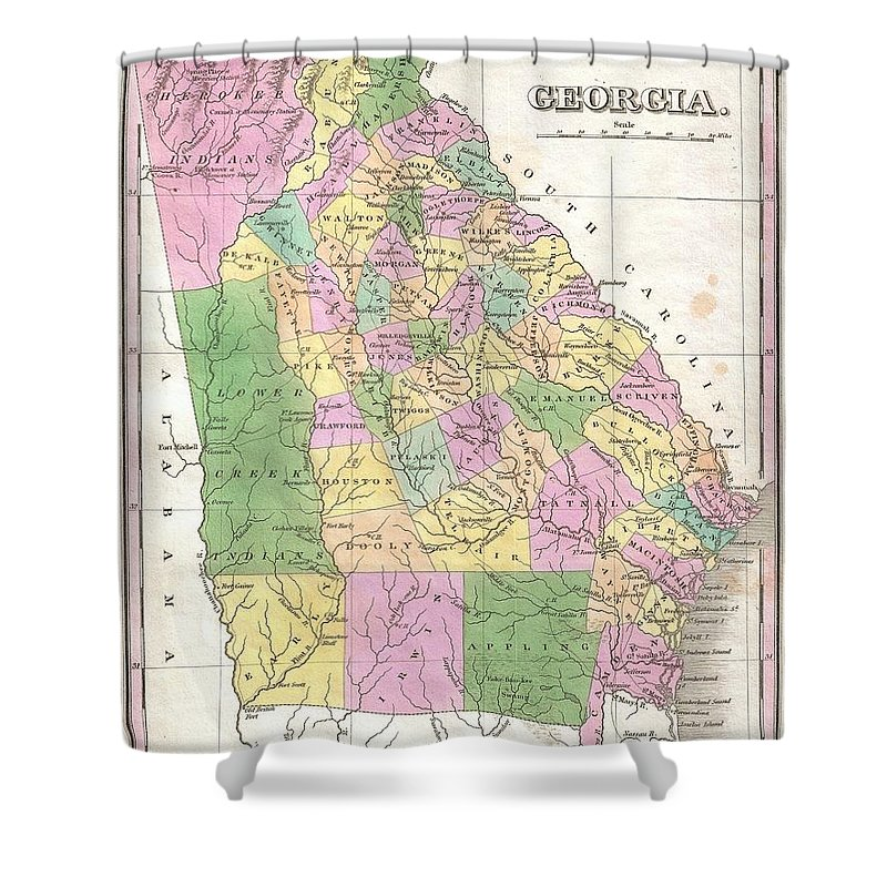 A Beautiful Example Of Finley's Important 1827 Map Of Georgia. Depicts The State With Moderate Detail In Finley's Classic Minimalist Style. Shows River Ways Shower Curtain featuring the photograph 1827 Finley Map Of Georgia by Paul Fearn