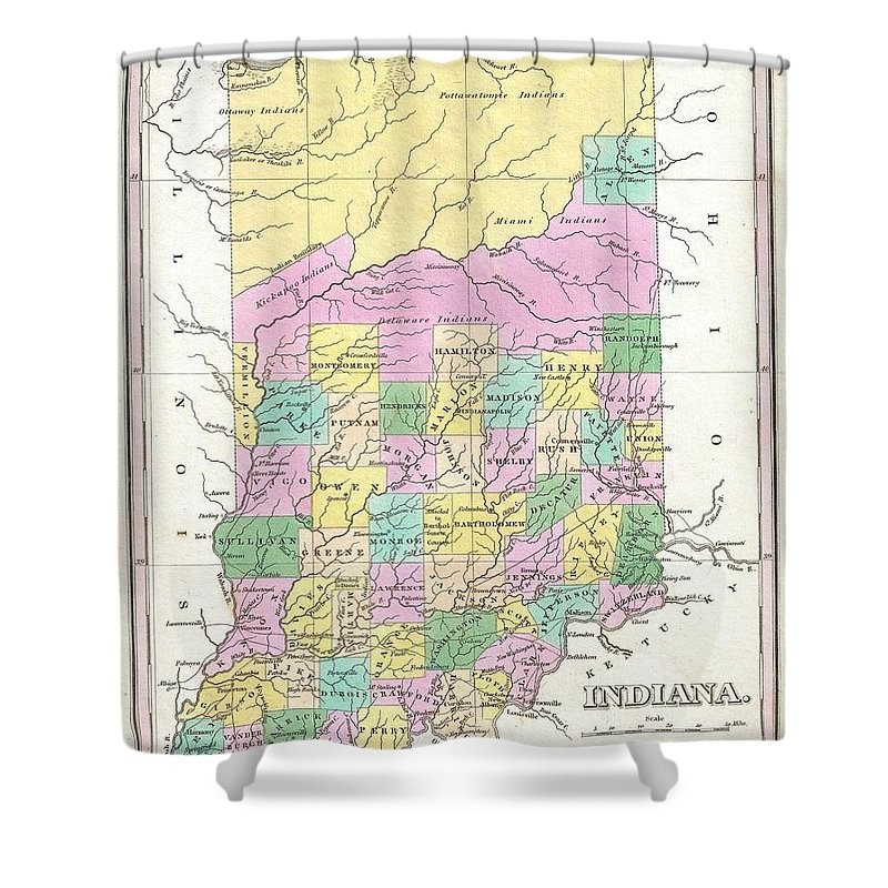 A Beautiful Example Of Finley's Important 1827 Map Of Indiana. Depicts The State With Moderate Detail In Finley's Classic Minimalist Style. Shows River Ways Shower Curtain featuring the photograph 1827 Finley Map Of Indiana by Paul Fearn