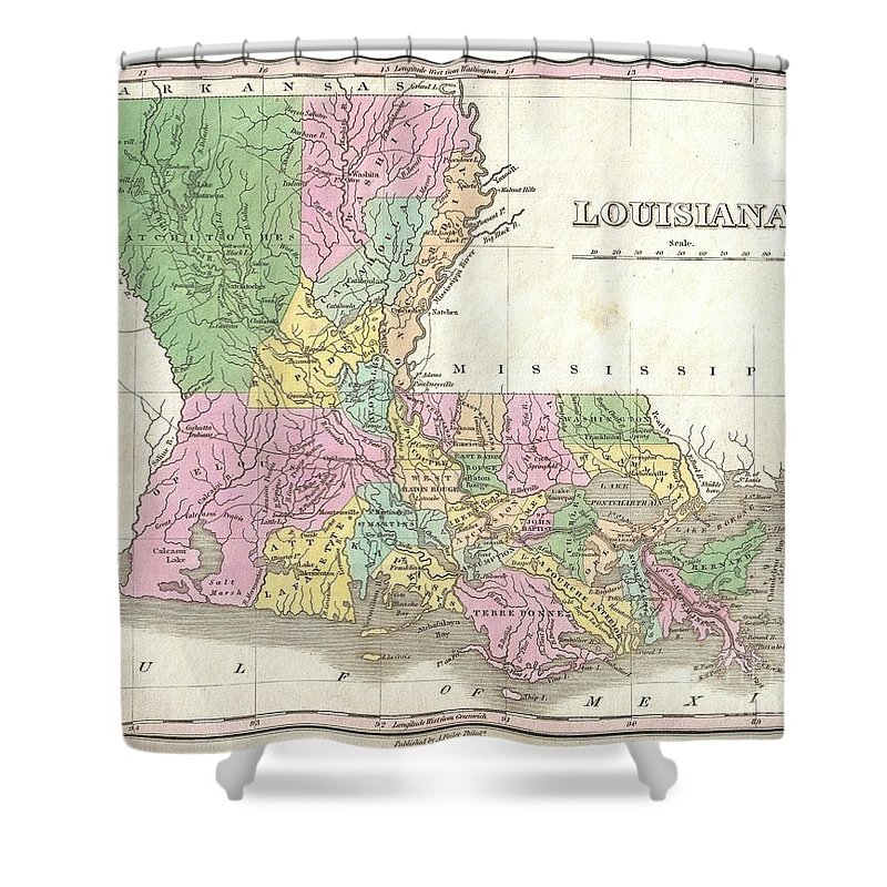 A Beautiful Example Of Finley's Important 1827 Map Of Louisiana. Shows Early County Configuration. Depicts The State With Moderate Detail In Finley's Classic Minimalist Style. Shows River Ways Shower Curtain featuring the photograph 1827 Finley Map Of Louisiana by Paul Fearn