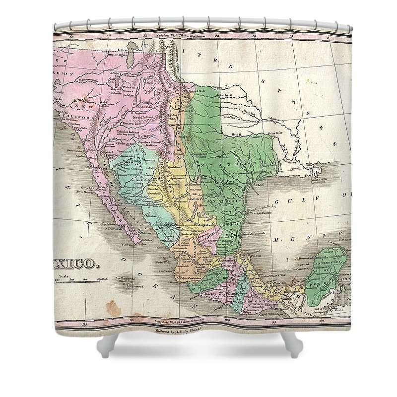 A Scarce And Important 1827 Map Of Mexico By Anthony Finley. Covers From Upper California And New Albion South To Guatemala Shower Curtain featuring the photograph 1827 Finley Map Of Mexico Upper California And Texas by Paul Fearn