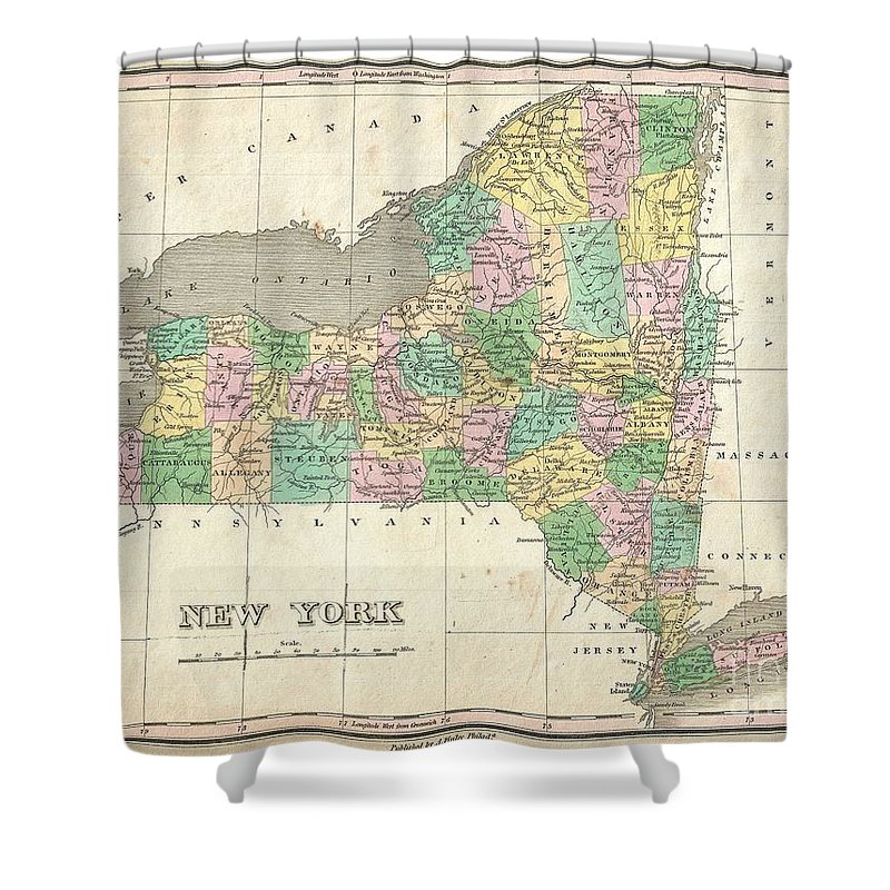 Beautiful Example Of Finley's Important 1827 Map Of New York. Includes Long Island And Lake Ontario. Depicts The State With Moderate Detail In Finley's Classic Minimalist Style. Shows River Ways Shower Curtain featuring the photograph 1827 Finley Map Of New York State by Paul Fearn