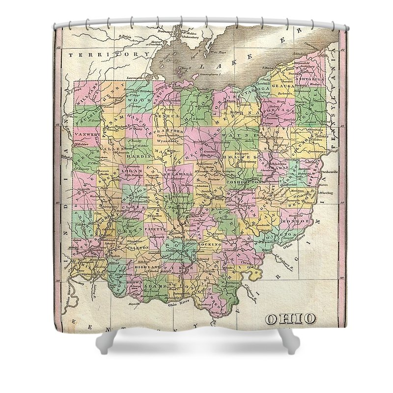 A Beautiful Example Of Finley's Important 1827 Map Of Ohio. Includes Much Of Lake Erie. Depicts The State With Moderate Detail In Finley's Classic Minimalist Style. Shows River Ways Shower Curtain featuring the photograph 1827 Finley Map Of Ohio by Paul Fearn