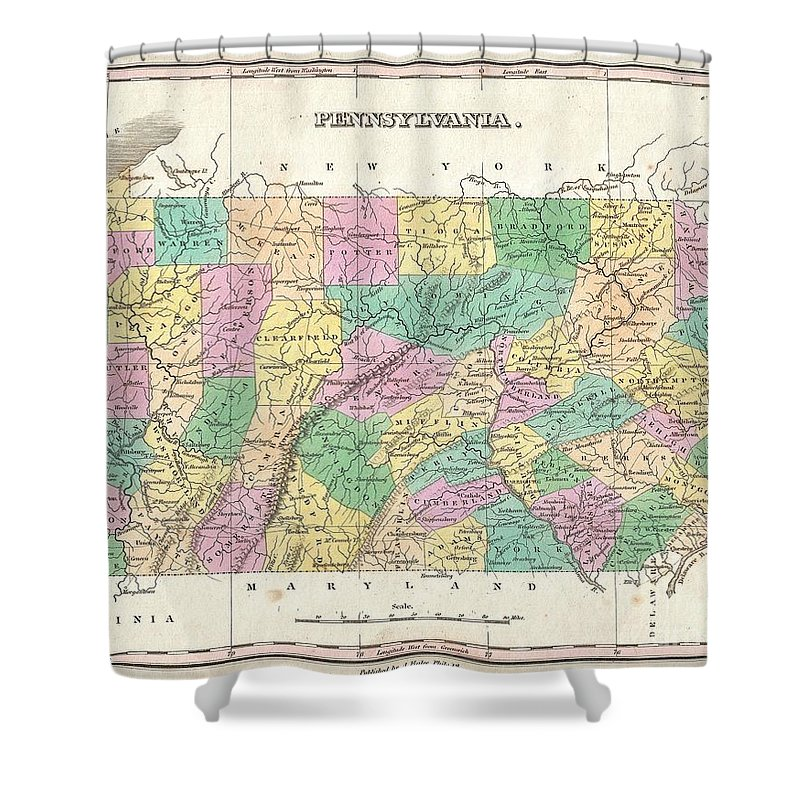 A Beautiful Example Of Finley's Important 1827 Map Of Pennsylvania. Depicts The State With Moderate Detail In Finley's Classic Minimalist Style. Shows River Ways Shower Curtain featuring the photograph 1827 Finley Map Of Pennsylvania by Paul Fearn