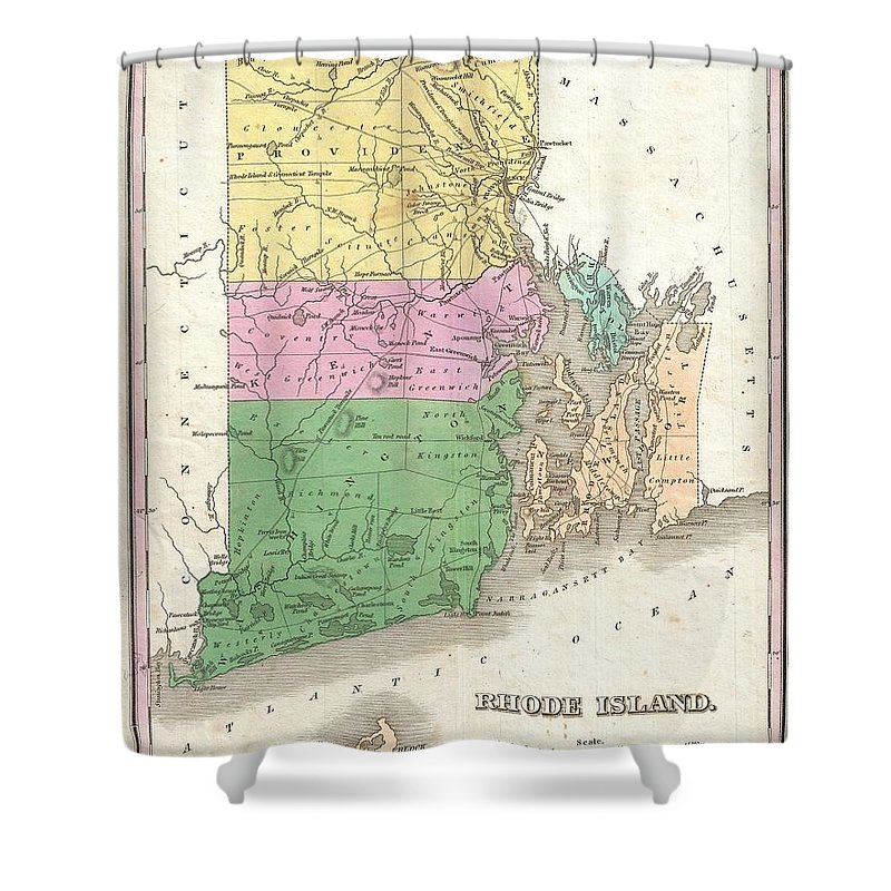 A Beautiful Example Of Finley's Important 1827 Map Of Rhode Island. Includes Block Island.  Depicts The State With Moderate Detail In Finley's Classic Minimalist Style. Shows River Ways Shower Curtain featuring the photograph 1827 Finley Map Of Rhode Island by Paul Fearn