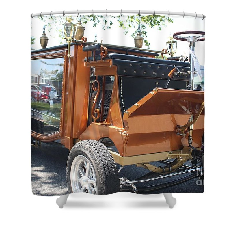 1852 Cunningham Hearse With 383 Chevy Stroker Engine Shower Curtain featuring the photograph 1852 Cunningham Hearse With 383 Chevy Stroker Engine by John Telfer