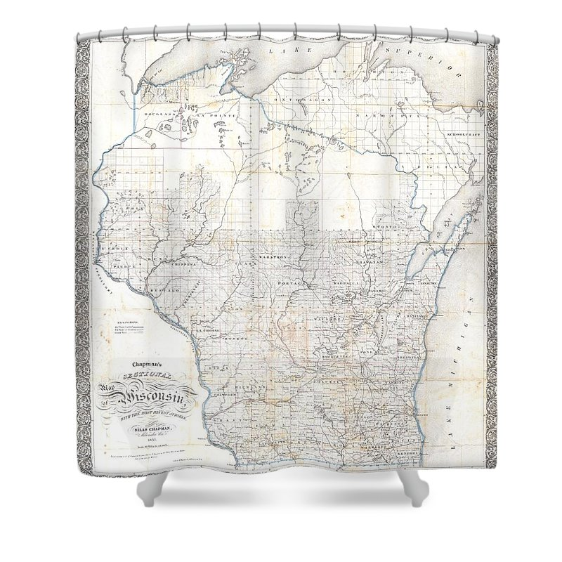 Shower Curtain featuring the photograph 1856 Chapman Pocket Map Of Wisconsin by Paul Fearn