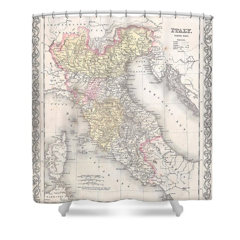 Shower Curtain featuring the photograph 1856 Desilver Map Of Northern Italy by Paul Fearn