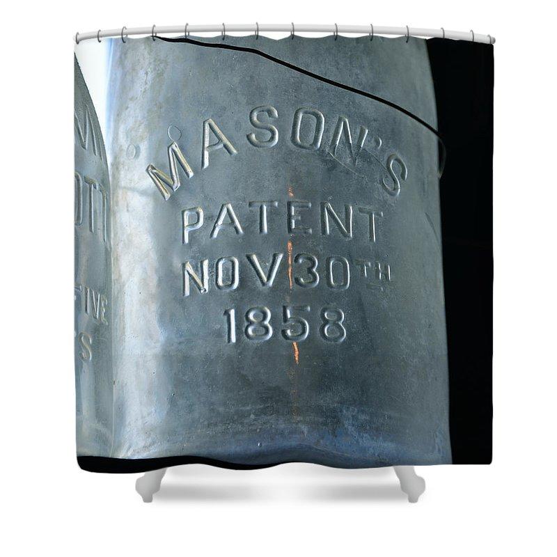 Mason Jar Shower Curtain featuring the photograph 1858 Masons Jar by David Lee Thompson