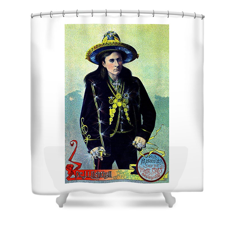 Historicimage Shower Curtain featuring the painting 1880 Lighthall's Medicine Show by Historic Image