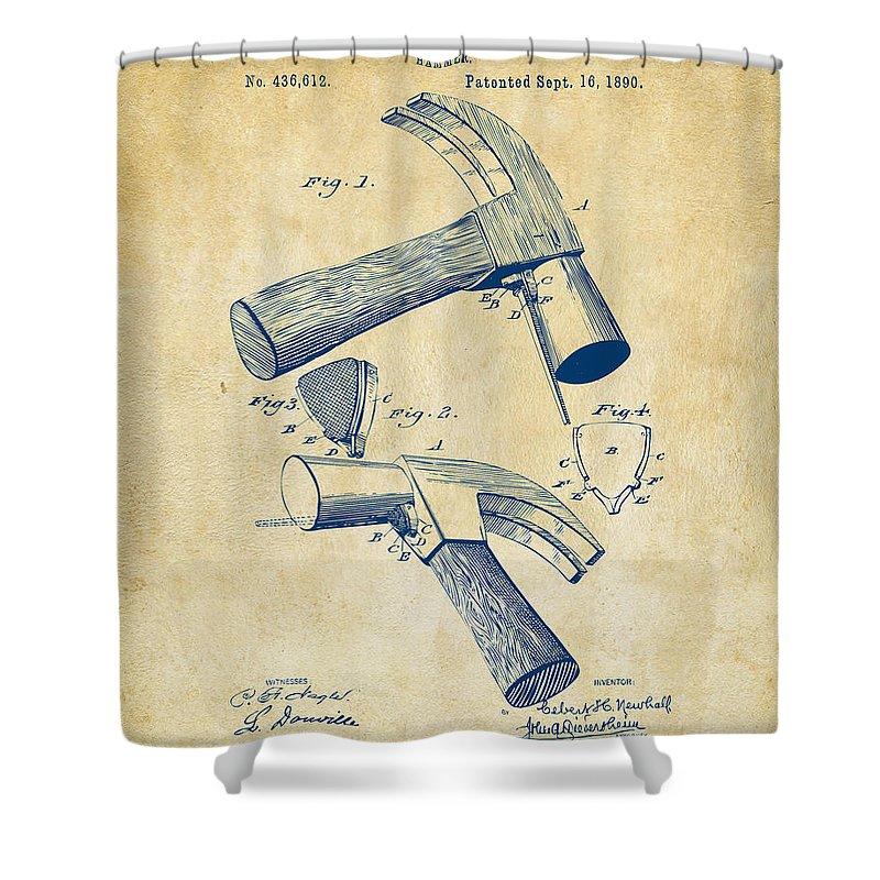 Hammer Shower Curtain featuring the digital art 1890 Hammer Patent Artwork - Vintage by Nikki Marie Smith