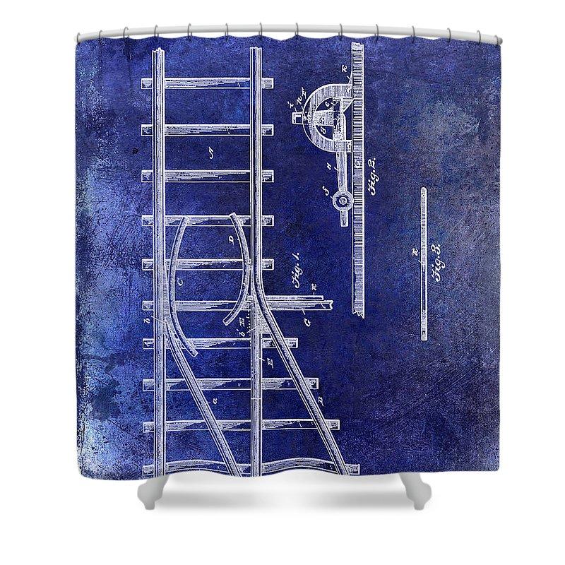 1890 Railway Switch Patent Drawing Blue Shower Curtain featuring the drawing 1890 Railway Switch Patent Drawing Blue by Jon Neidert