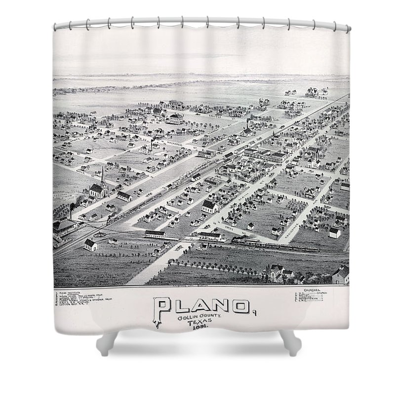 Map Shower Curtain Featuring The Photograph 1890 Vintage Of Plano Texas By Stephen Stookey