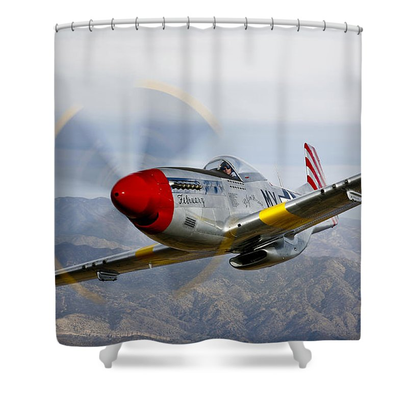 Horizontal Shower Curtain featuring the photograph A P-51d Mustang In Flight by Scott Germain