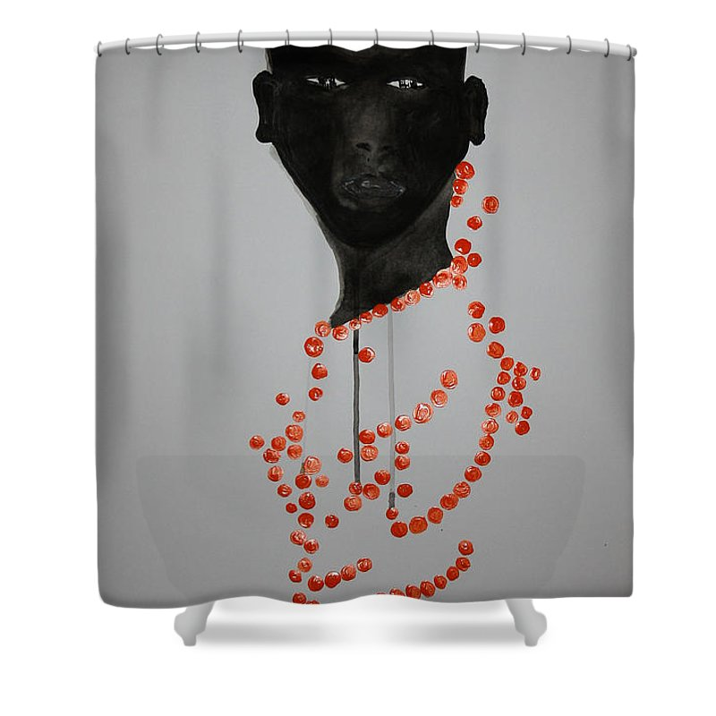 Jesus Shower Curtain featuring the painting Dinka Bride - South Sudan by Gloria Ssali