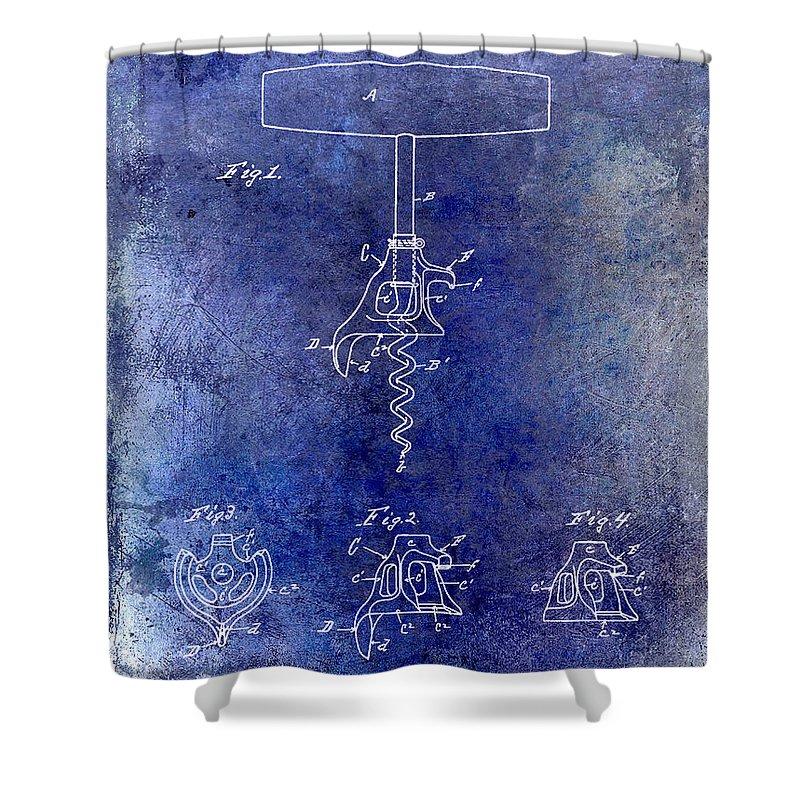 1900 Corkscrew Patent Drawing Shower Curtain featuring the drawing 1900 Corkscrew Patent Drawing Blue by Jon Neidert