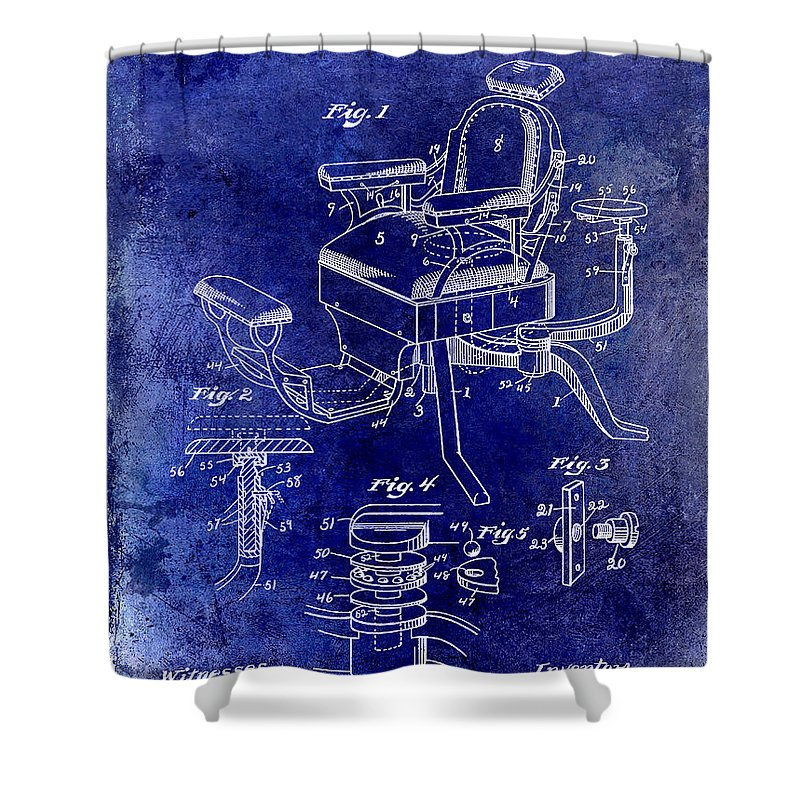 Barber Chair Patent Drawing Blueprint Shower Curtain featuring the photograph 1901 Barber Chair Patent Drawing Blue by Jon Neidert