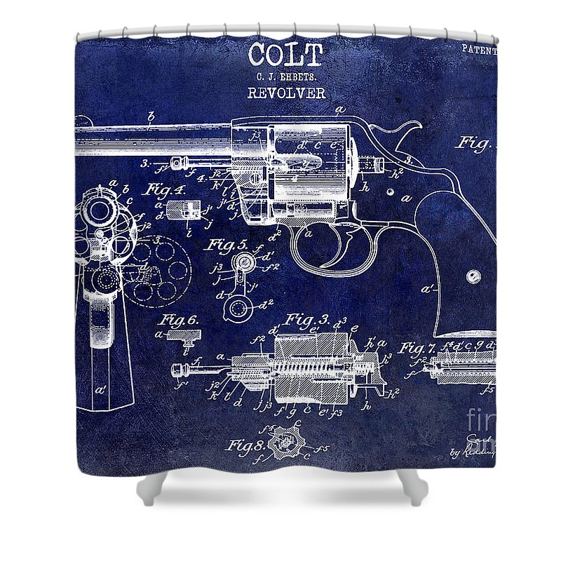 Colt Revolver Shower Curtain featuring the photograph 1903 Colt Revolver Patent Drawing Blue by Jon Neidert