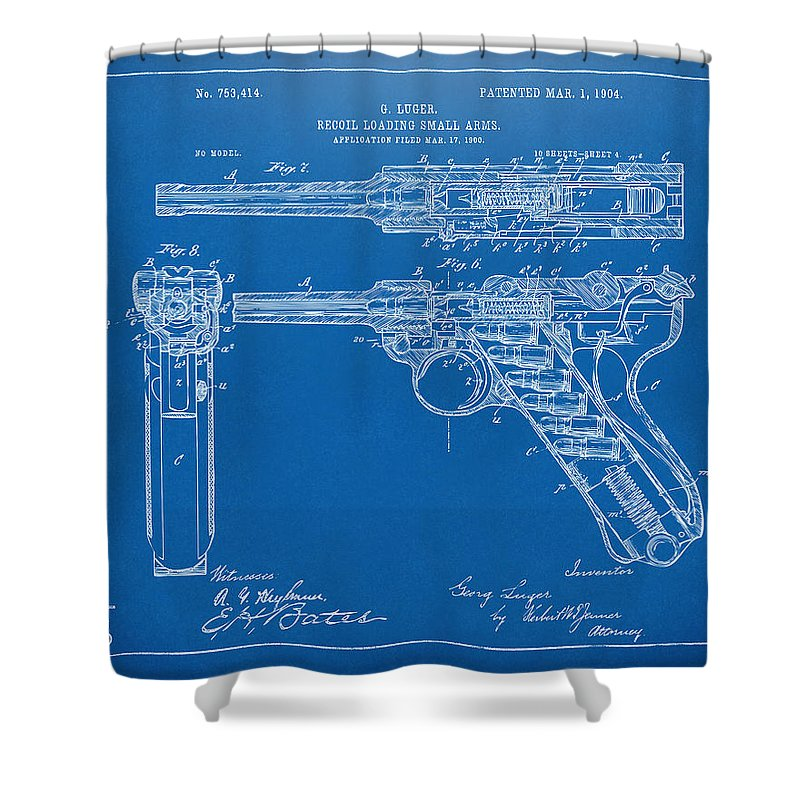 1904 Luger Recoil Loading Small Arms Patent - Blueprint Shower Curtain