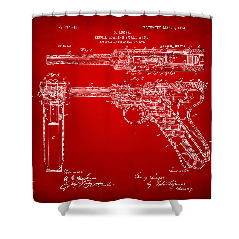 1904 Luger Recoil Loading Small Arms Patent - Red Shower Curtain