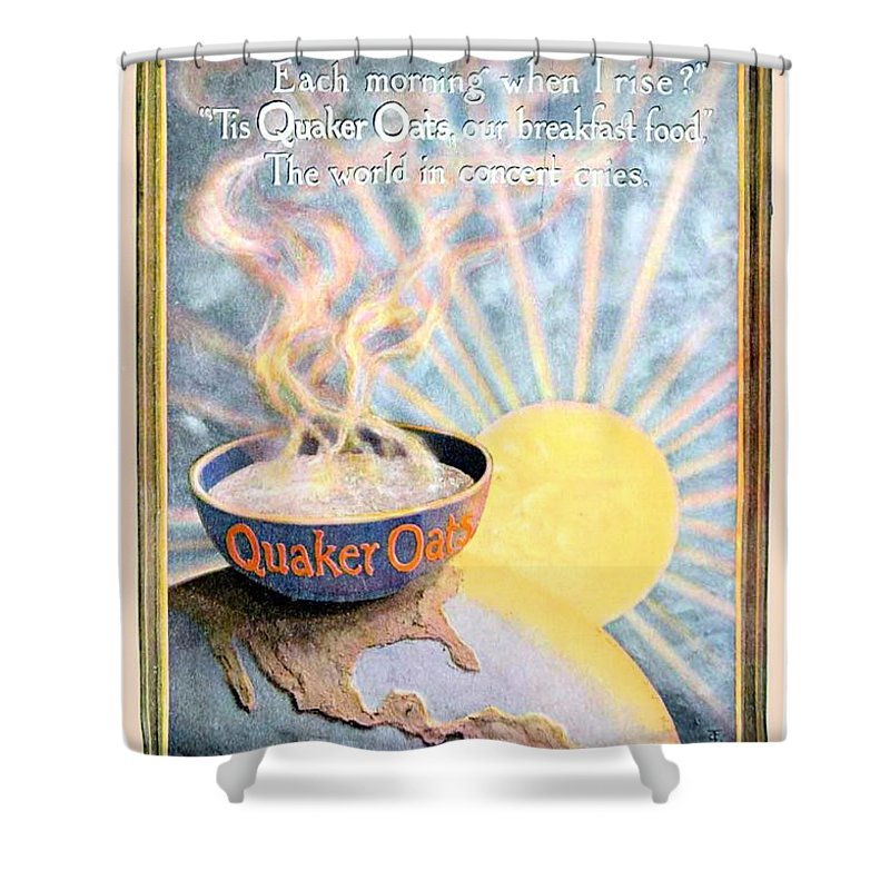 1906 Shower Curtain featuring the digital art 1906 - Quaker Oats Cereal Advertisement - Color by John Madison