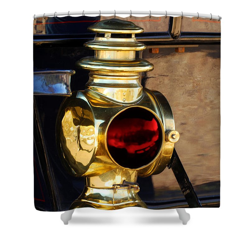 1910 Pope Hartford Model T Lamp Shower Curtain featuring the photograph 1910 Pope Hartford Model T Lamp by Jill Reger