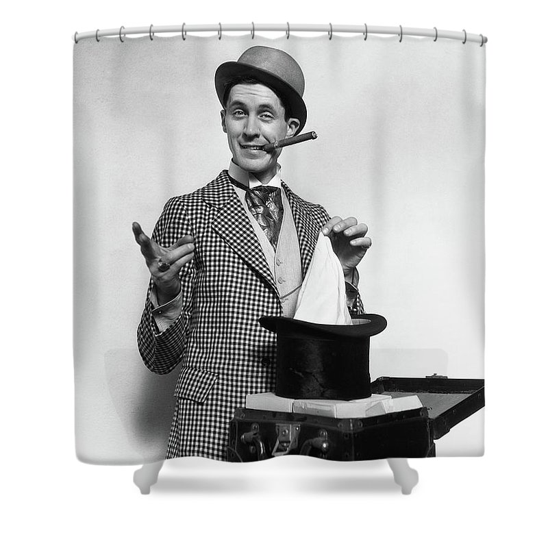cc54e693450 Photography Shower Curtain featuring the photograph 1910s 1920s Character  Con Man Magician by Vintage Images