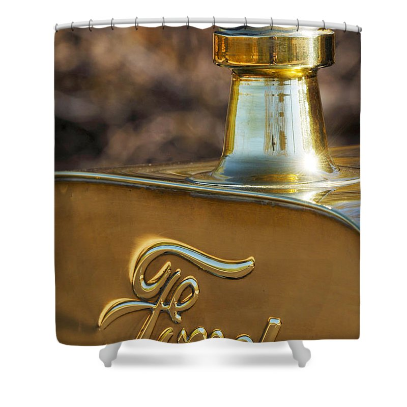 1911 Ford Model T Torpedo Shower Curtain featuring the photograph 1911 Ford Model T Torpedo 4 Cylinder 25 Hp Hood Ornament Emblem by Jill Reger