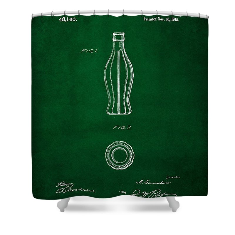 Coca Cola Bottle Patent Art Shower Curtain featuring the digital art 1915 Coca Cola Bottle Design Patent Art 4 by Nishanth Gopinathan