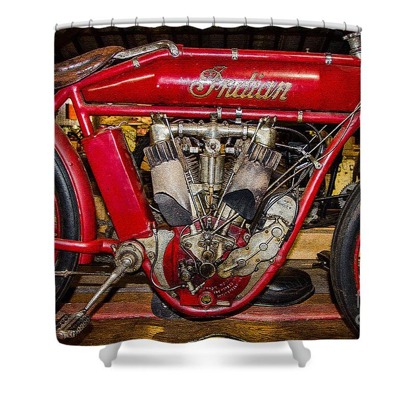 Indian Shower Curtain featuring the photograph 1915 Indian Model D1 by Paul Mashburn