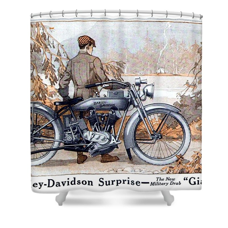Motorcycle Shower Curtain Featuring The Digital Art 1917