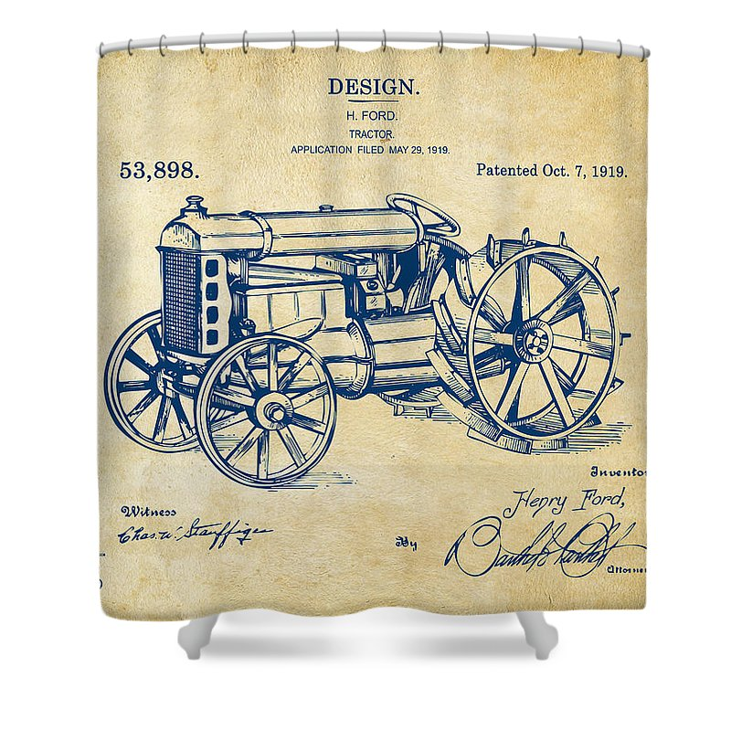 Henry Ford Shower Curtain Featuring The Digital Art 1919 Tractor Patent Vintage By Nikki