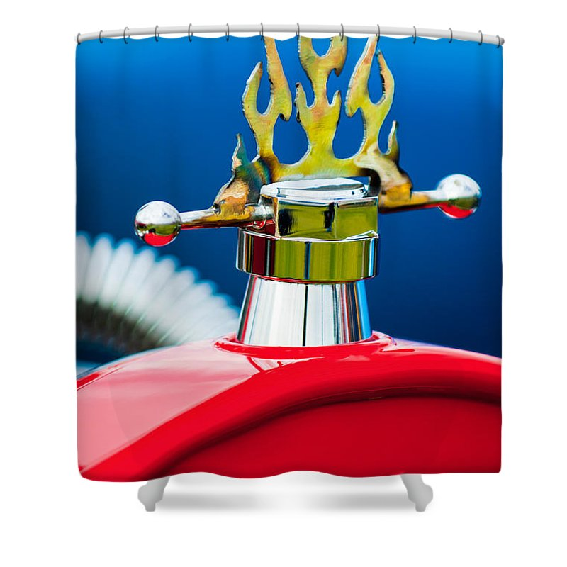 1923 Ford T-bucket Shower Curtain featuring the photograph 1923 Ford T-bucket Aftermarket Hood Ornament by Jill Reger