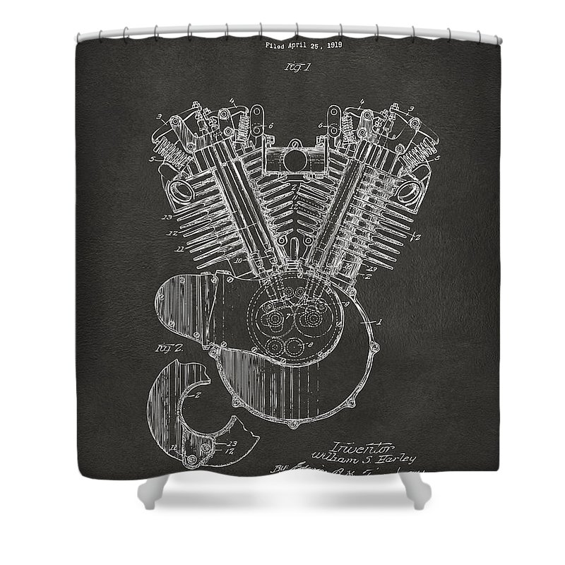 1923 Harley Engine Patent Art Gray Shower Curtain For Sale By Nikki Marie Smith