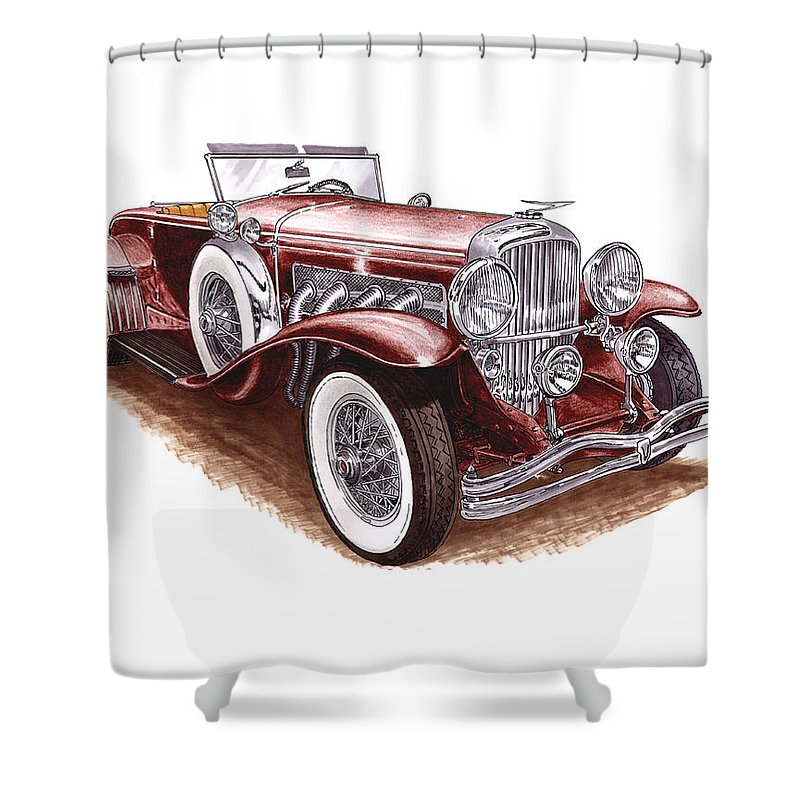 An Art Print Using Colored Pencils Of A 1930 Duesenberh Model J Roadster Coupe Shower Curtain featuring the mixed media 1930 Dusenberg Model J by Jack Pumphrey