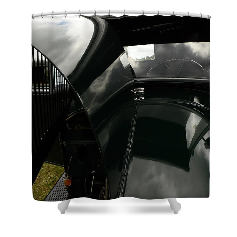 Classic Shower Curtain featuring the photograph Antique Car Hood by Karl Rose