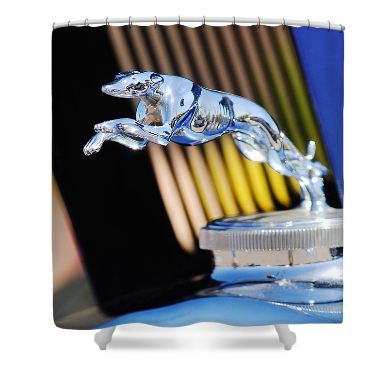 1930 Lincoln L Judkins Berline Hood Ornament Shower Curtain featuring the photograph 1930 Lincoln L Judkins Berline Hood Ornament by Jill Reger