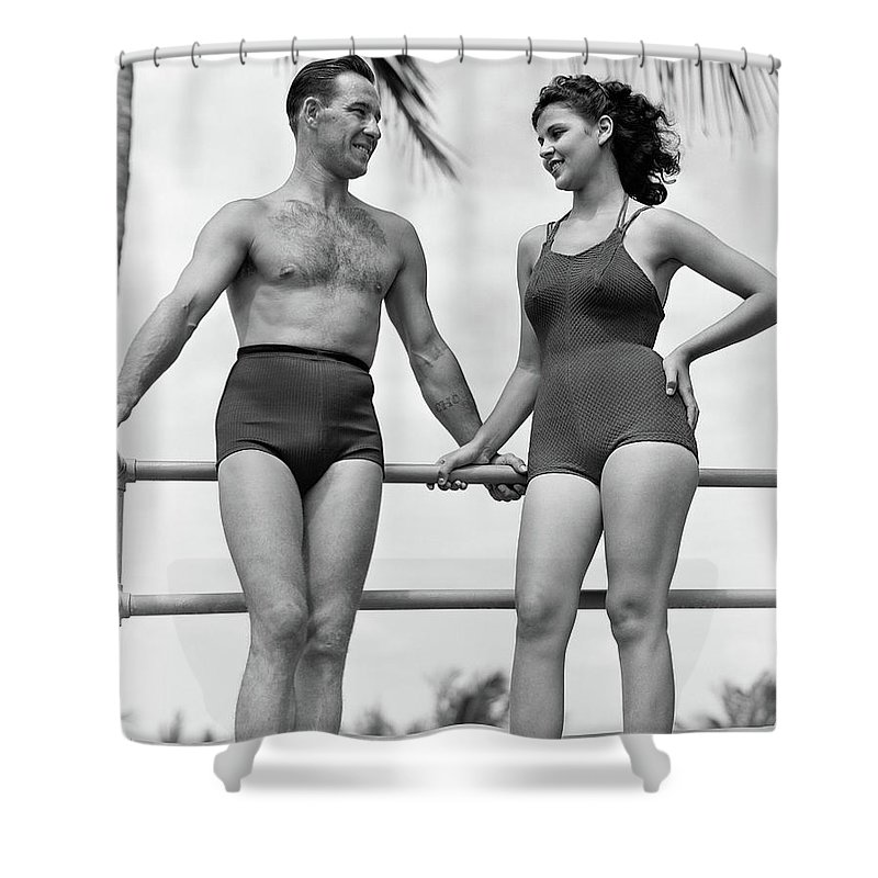 13bdce7df4 Photography Shower Curtain featuring the photograph 1930s 1940s Couple In Bathing  Suits by Vintage Images