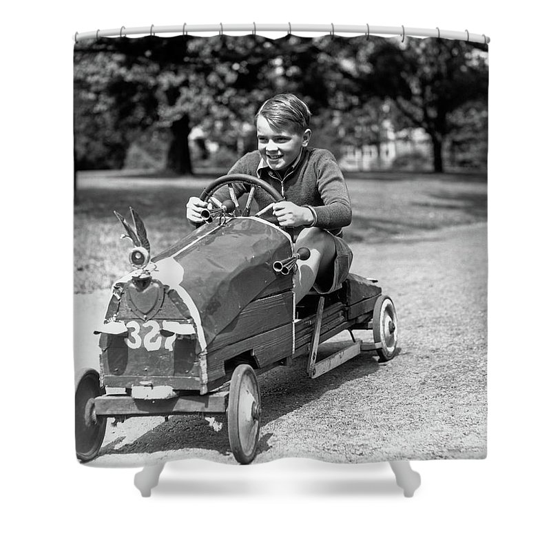 Photography Shower Curtain Featuring The Photograph 1930s Boy Driving Home Built Race Car By Vintage Images