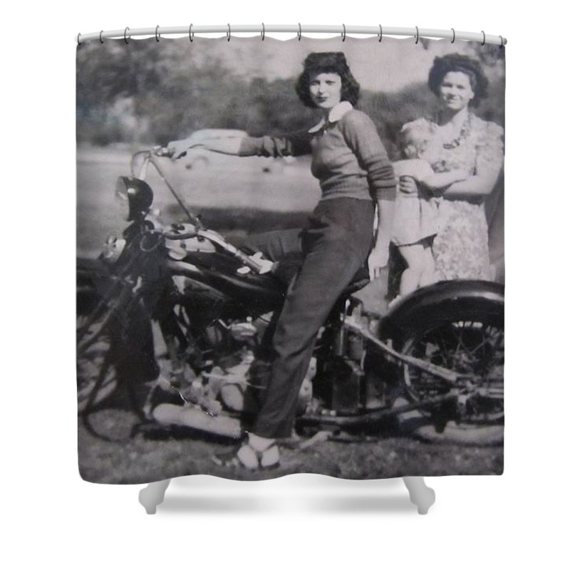 Triumph Motorcycles Shower Curtain featuring the photograph 1930's Indian Motorcycle Mama by Donna Wilson