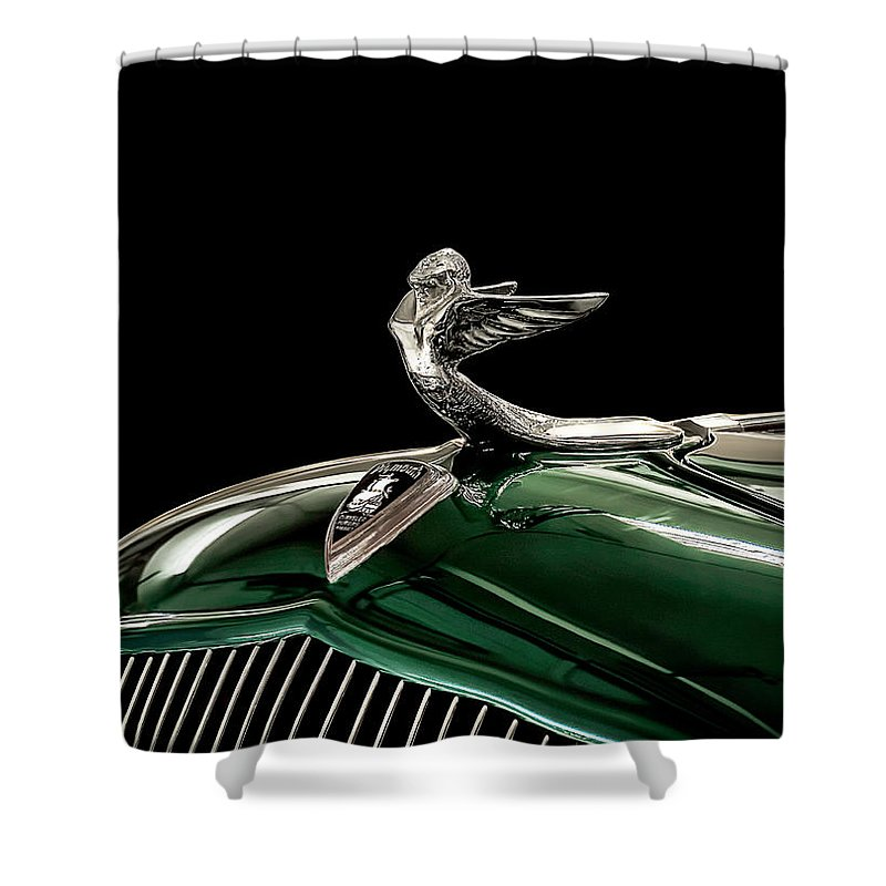Vintage Shower Curtain featuring the digital art 1933 Plymouth Mascot by Douglas Pittman