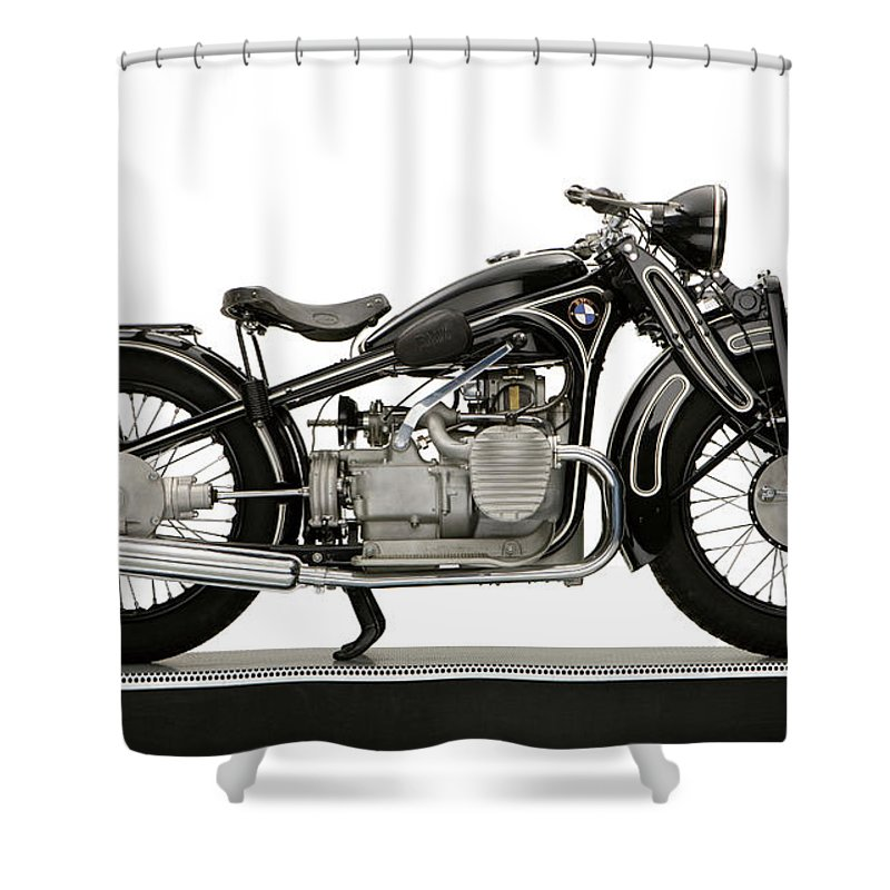 Photography Shower Curtain Featuring The Photograph 1934 Bmw R11 730cc Motorcycle By Panoramic Images