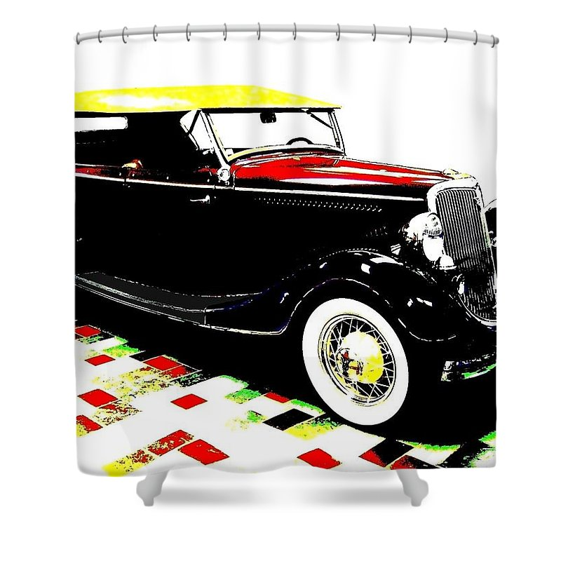 1934 Ford Phaeton V8 Shower Curtain featuring the digital art 1934 Ford Phaeton V8 by Will Borden
