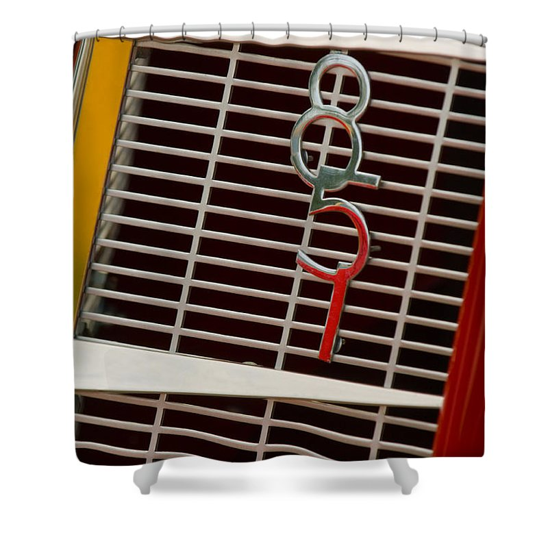 1935 Auburn 851 Cabriolet Grille Emblem Shower Curtain featuring the photograph 1935 Auburn 851 Cabriolet Grille Emblem by Jill Reger